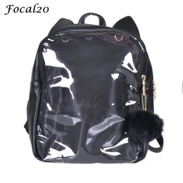 Wholesale travel bags for cats - Focal20 Harajuku Cute Cat Ear Transparent Ita Bags PU Leather School Bag Travel Bag Solid Color Clear Backpack for Teenage Girls