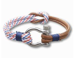 Морская пряжка онлайн-Новая мода Шарм Paracord браслет Военно-Морского Флота стиль плетеный канат из нержавеющей стали пряжки браслеты выживания для мужчин женщин Pulseras AA659