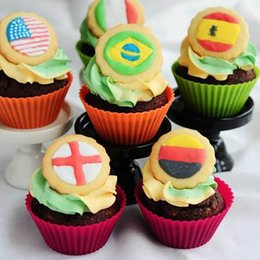 Wholesale Cup Cakes Cases Christmas - 7CM Silicone Cake Mold DIY Round Cake Baking Cups Nonstick Liner Bakeware Tools 8 Color Muffin Cases Free DHL XL-501