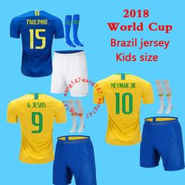 kits para niños + calcetín de fútbol para calcetines Brazil NEYMAR JR 18 19 niño G JESUS P COUTINHO Camisa de futebol DANI ALVES MARCELO camiseta de fútbol desde fabricantes
