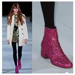 Zapatos bling de la boda del oro online-Feminina Luxury Designer Runway Shoes Glitter Shiny Booties Gold Silver Botines Mujer Bling Zapatos de boda eden heel Plus Size