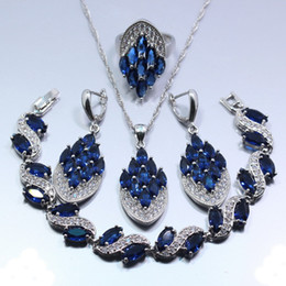 Wholesale Jade Pieces - whole saleOccident Blue Zircon White Zircon Four Piece Women Jewelry Set 925 Sterling Silver Ring Size 6 7 8 9 10 Free Gift Z134