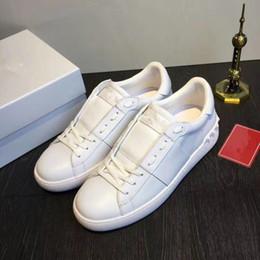 Argentina Todos los zapatos de vestir de señora BLANCO Comfort Casual Zapatillas de deporte para hombre Zapatos de cuero ocasionales de lujo Diseñadores de lujo Womens Garavanis zapatillas de Lowtop abiertas cheap designer white dress shoes Suministro
