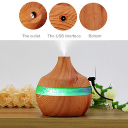 Wholesale Ultrasonic Mist Diffuser - 300ml Touch Switch Wood Grain Ultrasonic Environmentally Humidifier Purifier LED Essential Oil Diffuser 7 Color Changing Gift
