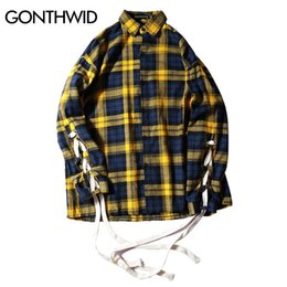 Wholesale Stand Up Collar Shirts - Lace-Up Sleeve Plaid Shirts 2017 Mens Hip Hop Casual Long Sleeve Shirts Fashion Swag Hipster Streetwear Yellow Red Blue