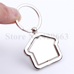 Wholesale real estates - 100 pieces lot Rotate House Keychain Key Ring Metal Zinc Alloy Accessory Trendy Key Charms Pendant Real Estate Company Gift