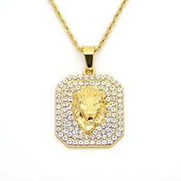 2019 оптовая золотая льва en хип-хоп Jewelry2018 новый обледенелый золото мода Bling Львиная голова кулон мужчины ожерелье золото заполненные для мужчин Женщины подарок Оптовая дешево оптовая золотая льва