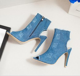 Wholesale Aa Side - Blasting models of foreign trade shoes denim side zippers cool boots wholesale undertakes to Europe and the United States fish lips sexy lad