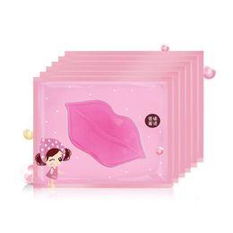 Labio humedo online-10pcs Crystal Collagen Pump Lips Mask Lot Beauty Exfoliator Anti arrugas Máscara Moist Pink Labios Cuidado Labios llenos Plumper Pink Mask