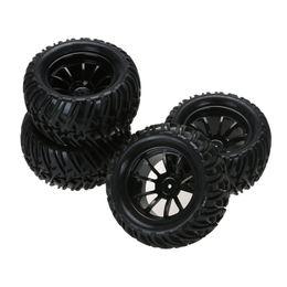 4 шт. пластиковый обод колеса и резиновые шины для 1:10 монстр грузовик RC автомобиль 12 мм концентратор от Поставщики пластиковые колеса резиновые