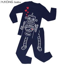 Wholesale cute baby boy pajamas - H.KONG baby Boys Robot Pajamas sets Kids Dinosaur Sleepwear Children Cars Truck Pyjamas Girls Loving Cute Pijamas For 2-7 Years