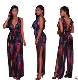 8b3d963ec34b China Summer women jumpsuits rompers Hot selling sexy chiffon graffiti  printing deep V strapless high open