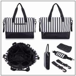 Wholesale Nylon Luggage Sets - 3 Colors New Arrival 5pcs set Large Capacity Striped Mummy Changing Bag Baby Diaper Nappy Bags Travel Lage Handbag CCA8920 5set