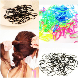 Wholesale Black Ponytail Cosplay Wig - 300 Pcs Pack Rubber Rope Ponytail Holder Hair Elastic Braids Plaits Hair Bands Ties Black Hair Accessories