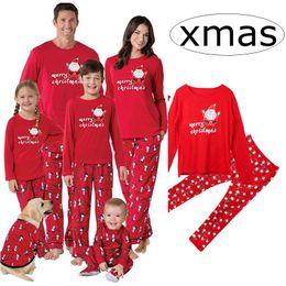 INS Red Merry Family Matching Christmas Pajamas PJs Sets Kids Adult Xmas  Sleepwear Nightwear Clothing family casual Santa clothes Set c85e1ac33