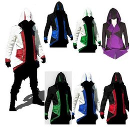 Hoodie assassino anime online-Più recente Assassins Creed 3 III Conner Kenway Hoodie Coat Jacket Anime Cosplay Assassin's Costume Cosplay Overcoat