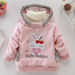 Wholesale 3t christmas sweater - Baby Rabbit embroidery sweater cartoon bunny Pullover Autumn Winter kids Hoodies children Tops 4 colors C3561