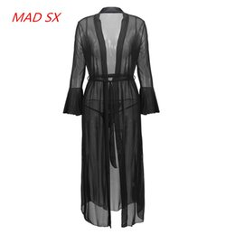 Wholesale Transparent Nightgowns - 2017 Hot sales Sexy woman Long sleeves black Nightgowns Net yarn Transparent Bathrobes Hot pajamas long Nightdress for women