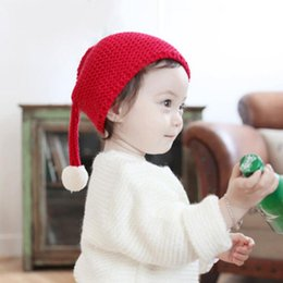 Wholesale Cute Kids Christmas Photos - Winter Baby Hat Cute Kids Hat Beanie Warm Lovely Long Tail Furry Ball Knitted Hats For Children Girls Boys Baby Photos Props