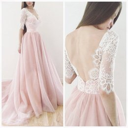 el vestido de boda se cierra hacia arriba Rebajas Sexy Pink Lining Vestidos de novia Media manga Una línea Profundo V Cuello de encaje Corsé Longitud del piso Sin espalda Vestido De Noiva Zip up Vestidos de novia