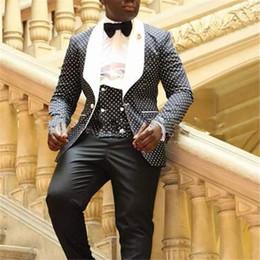 Schwarzer Punkt-weißer Revers-Mann-Klage für formalen Anlass der Hochzeit  3Pieces (Jacket + Pants + Vest + Tie) nach Maß Slim Fit Tuxedo Blazer db2e572fe6