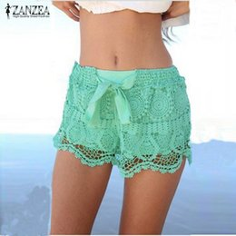 zanzea lace shorts Promo Codes - Zanzea Summer Style Shorts 2018 Fashion Women Casual Lace Drawstring Hollow Out Shorts Solid Beach Hot Plus Size