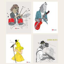 Dipinti jazz online-Musica Rock Animali Carta da parati Pittura su tela decorativa Disegni di moda Poster Jazz batteria Chitarra Picture Decor Home Paintings