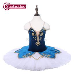Tutu de ballet azul de las niñas online-Niñas Azul Tutu de Ballet Profesional The Nutcracker Performance Dancewear Kids Clásico Ballet Dance Competencia Trajes Falda de Ballet Adulto