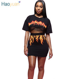 2ce204b824f2 HAOYUAN 2 Piece Set Women Fire Flame Print Back See Through Sexy Mesh Crop  Top And Mini Bodycon Skirt Outfit Suits Two Piece Set