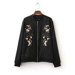 Wholesale College Outerwear - Floral Bird Jacket Women 2016 Basic Coats Bomber Jacket Black College Coat Pilots Outerwear chaquetas mujer casaca ethnic jacket