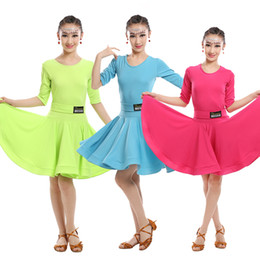 Wholesale Kids Ballroom Dance Costumes - Girls Green Blue Latin dancing dress Kids Ballroom Salsa Dance wear Outfits Children's Party Stage wear costumes long sleeve