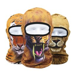 Wholesale Skull Mask Full - 3D Animal Print Sports Full Face Mask Bicycle Cycling Motorcycle Active Outdoor Mask Skull Hood Hat Veil Balaclava UV Protect Full Face Mask
