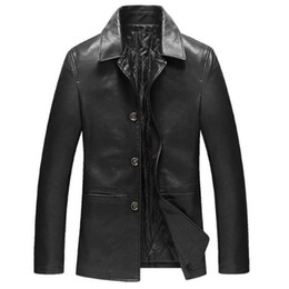 Wholesale Business Man Winter Coat Black - Leather Jacket Men Coats 4Xl High Quality Pu Outerwear Thicken Men Business Winter Faux Leather Male Jacket A3891