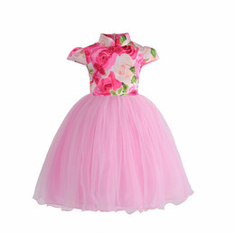 Wholesale Sleeveless Cheongsam - IN stock 2018 NEW arrival Hot selling summer Girls Sleeveless flower printed dress baby kids Girl's cheongsam skirt free shipping
