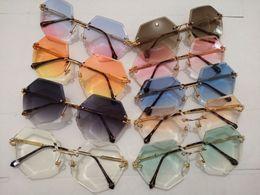 poly sonne Rabatt Mode dame poly rahmenlose sonnenbrille ozean farbe objektiv sonnenbrille uv-schutz persönlichkeit sonnenspiegel