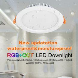 Wholesale Led Ip54 - FUT069 Milight 15W IP54 Waterproof RGB+CCT LED Downlight Dimmable AC86-265V Round Reccessed Light 2.4G B8 FUT092 remote