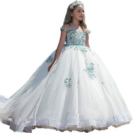 Wholesale Trendy Chiffon Dresses - Trendy Pearls Beads Crystal Scoop White Little Girls Party Pageant Dresses Tutu Train Flower Girls Dresses Chiffon First Communion Dress