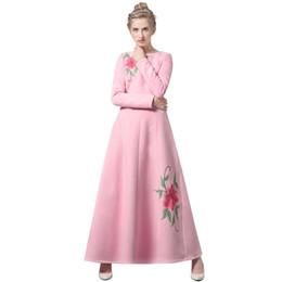 Invierno maxi vestido de lana online-Lana de invierno de lujo vestido largo bordado fiesta de año nuevo Maxi ropa musulmana rosa vestidos DH1066