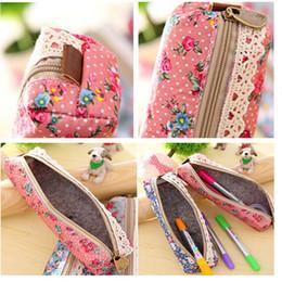 Wholesale flower pencil cases - fashion Flower Lace Floral Zipper Pen Pencil Bag Case Cosmetic Bag women makeup bag jewelry organizer 3 colors