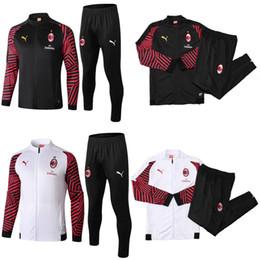 ALTA QUALIDADE Milan treinamento de futebol suirt branco preto manga longa survetement 18 19 HIGUAIN CALHANOGLU ROMAGNOLI CUTRONE agasalho De Futebol de