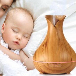 Wholesale Electric Home Diffuser - 400ml Home Aroma Essential Oil Diffuser Ultrasonic Air Humidifier Wood Grain Color Changing LED Lights Electric Aroma Diffuse
