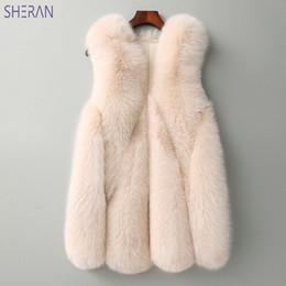 cf9c925b644 SHERAN 2018 New Winter Warm Vest Fox Fur Faux Fur Vest Women Jackets  Waistcoat Outerwear Long Leather Grass Faux Coats Gilet discount long faux  fur gilet