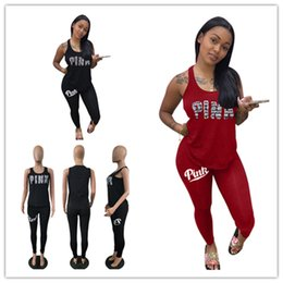 Wholesale tutu tank tops - Love Pink Tracksuit summer Pink Letter Sleeveless vest T shirt Tank Top pants 2pcs set Sportswear leggings Casual Clothing suits 2018 best