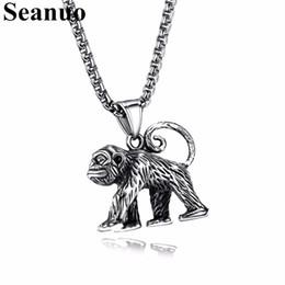 Catene di scimmie online-Seanuo Personality Orangutan Scimmia titanio acciaio uomini collana ciondolo freddo moda punk hip-hop catena a maglia maschile collana Biker