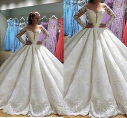 2018 nueva moda Noble vestidos de novia vestido de bola de la vendimia mangas largas vestido de bola vestidos de encaje bordado apliques vestidos de novia desde fabricantes