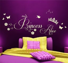 Wholesale Vinyl Transfer Stickers - Princess Crown Personalised Name CHILDREN GIRL BEDROOM WALL ART STICKER REMOVABLE VINYL TRANSFER DECAL HOME DECORATION S M L