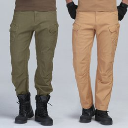 2019 multi pantalones holgados militares Multi Pocket Tactical Pants Baggy Men's Camo Fashion Negro Verde Khaki Outdoor Military Style Army Fatigue Panty Cargo Pant rebajas multi pantalones holgados militares