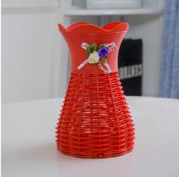 projetos da cesta da flor Desconto Cesta de flores Triciclo Vasos Decorativos com Design de Relógio Flor Vaso de Roda Rattan Vaso Redondo para Decoração de Casamento