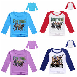 Wholesale long t shirts for boys - DHL fast shipping long sleeve Fortnite print T-shirts for baby girls boys 2018 autumn shirt Tops cotton children Tees kids Clothing 68 color