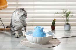Wholesale Automatic Dog Water Dispenser - Automatic Electric 2.1L Pet Water Fountain Dog Cat Drinking Porcelain Bowl